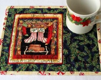 Christmas Mug Rug, Quilted Snack Mat, Holiday Mug Mat, Blue Green, Quiltsy Handmade