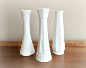 White Milk Glass Vases Retro Wedding Decor