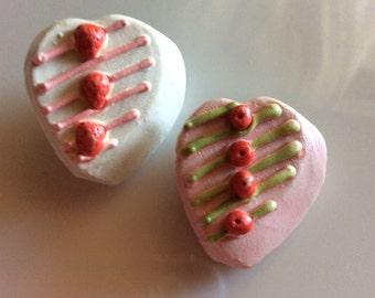 2 - Handmade Studio Buttons Food Pie Cake Heart Studio Supplies