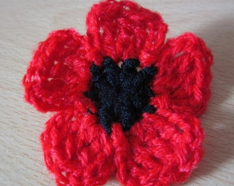 Crocheted Poppy Brooch - Red for Rememberance