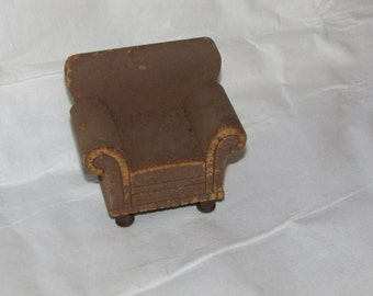 VINTAGE Doll House MINIATURE Beautiful Wood 1936 Strombecker Living Room Chair
