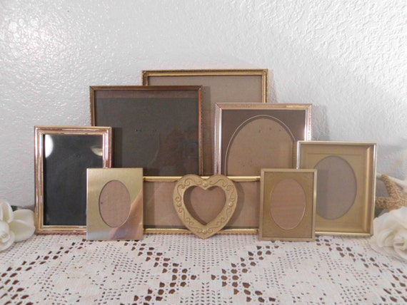 Vintage Gold Metal Frame Collection Set Instant Gallery Paris Chic French Country Farmhouse Rustic Cottage Mid Century Home Decor Wedding