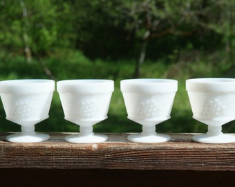 Indiana Milk Glass Dessert Cups, Harvest Grape, Vintage Stemware, White Glass for Wedding or Collectible