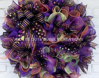 Purple Multicolored Halloween Boo Ruffled Mesh Wreath
