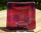 Medium Brightly Coloured Rippled Fused Glass Tea Light Dish