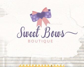 Premade Logo & Watermark - Bow Logo Design - Boutique Logo - Business Logo Design