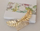 Grecian Gold Shiny leaf  branch hair comb headpiece