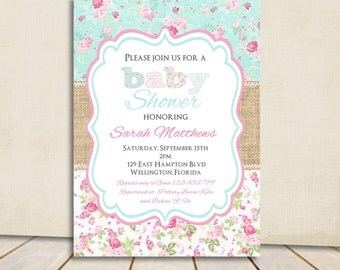 Shabby Chic Burlap Baby Shower Invitation Victorian Floral Pink and Blue Rose Printable Custom Invite