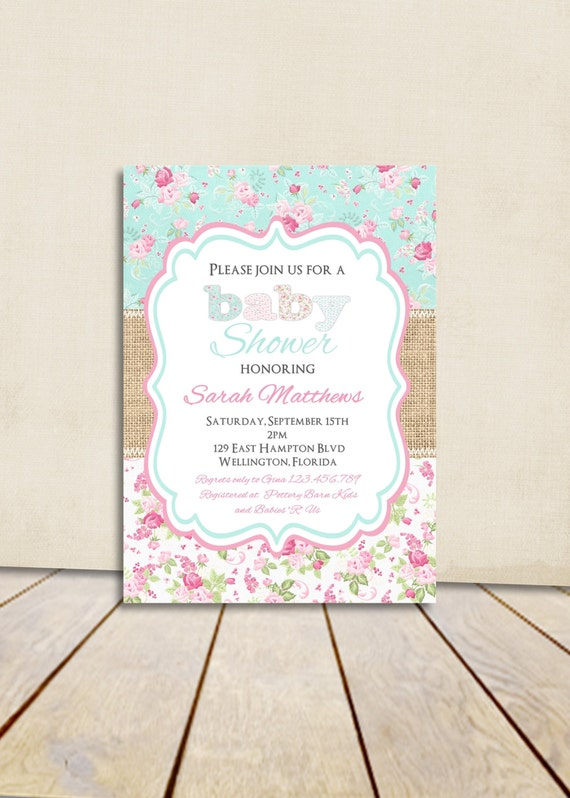 shabby chic burlap baby shower invitation victorian floral pink and