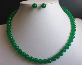 jade set - 17inch green jade necklace & earring set,free shipping