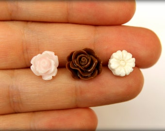 Flower Earring Studs Trio: Palest Pink Rose, Chocolate Brown Scrunch Rose, Ivory Flower