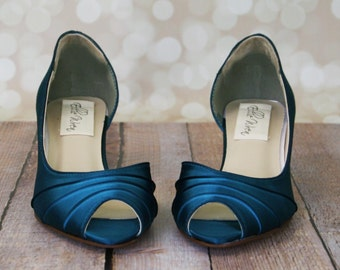 Custom Wedding Shoes -- Tealness D'Orsay Style Kitten Heel Peep Toe Wedding Shoes