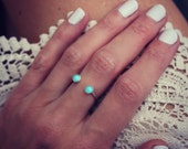 Turquoise ring, Sterling silver ring, stacking ring, midi ring, stackable ring, dual open ring