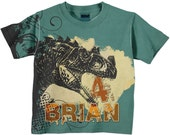 Boys T-Rex Shirt, Personalized Dinosaur Clothing, T-Rex Dinosaur Birthday Shirt, Dino T-Shirt, Boys Top