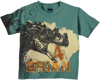 Boys T-Rex Shirt, Personalized Dinosaur Clothing, T-Rex Dinosaur Birthday Shirt, Dino T-Shirt, Boys Top