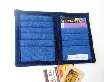 Wallet Credit Card Holder Organizer with 12 Slots Denim Fabric Women Ladies Business Card Book Receipts Coupons Eva Clements BananaBunch