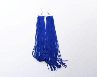 Indigo earrings, fringe earrings, extra long earrings, dark blue fringe, tassel earrings, oversize earrings, blue earrings, summer trends
