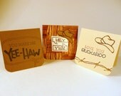 Adult Love Notes with envelopes, set of 3, Mini cards, cowboy love notes, adult lunch box notes, masculine mini cards, hand stamped cards
