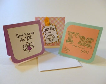 Mini Cards with envelopes, set of 3, Lunch box notes, girls mini cards, kids mini notes, hand stamped note cards