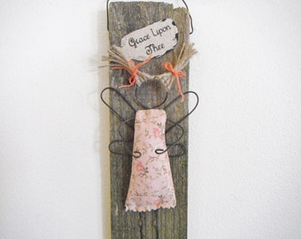 Angel Wire Art 'Grace Upon Thee' OOAK Folk Art Angel Mixed Media Whimsical Wall Hanging Handmade Rustic Country Primitive Decor
