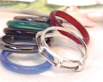 Vintage Sterling Silver Gemstone Stacking Rings/ Interchangeable