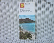 Vintage 1972 Hawaii Shell oil company gas station road and street map