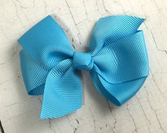 Boutique Hair Bows- Mystic Blue - 3 inch Hair Bow, Boutique Bow, Babies Toddler Girls Women