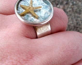 Starfish Ring-Starfish Jewelry-Nautical Ring-Silver Ring-Nautical Bridesmaid Gift-Wedding Favors-Beach Accessories