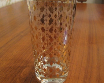 Mid Century Georges Briard Gold Diamond and Flower Glass Tumbler