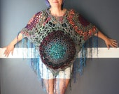 "Crochet ""Witches Brew"" Poncho Wrap Mulit Colored Shawl With Fringe Hippie Boho Gypsy Unique One of a Kind Purple Green Blue Orange Red"