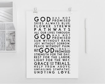 God has promised. Hymn. Black and White simple version. Printable Design. 11x14 to print on A3. DIY. PDF.