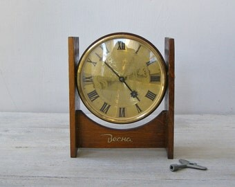 Soviet Mechanical Mantle Clock, Vintage Mid Century Russian BECHA Brown Wood Shelf Clock, Rustic Cottage Decor, Collectible Man Office Gift