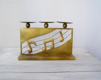 Vintage Goldtone Candelabra Metal, Modernist Candlesticks, Music Notes Decor, Folk Art Candelabra, Musician Gift, Vintage  Metalworking