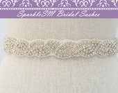 Stunning Crystal Bridal Sash, Rhinestone Bridal Beaded Rhinestone Sash, Wedding Bridal Sash, Bridal Belt, SparkleSM Bridal Sashes, Lucia