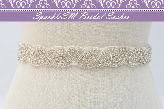 Stunning Crystal Bridal Sash, Rhinestone Bridal Beaded Rhinestone Sash, Wedding Bridal Sash, Bridal Belt, SparkleSM Bridal Sashes, Lucia