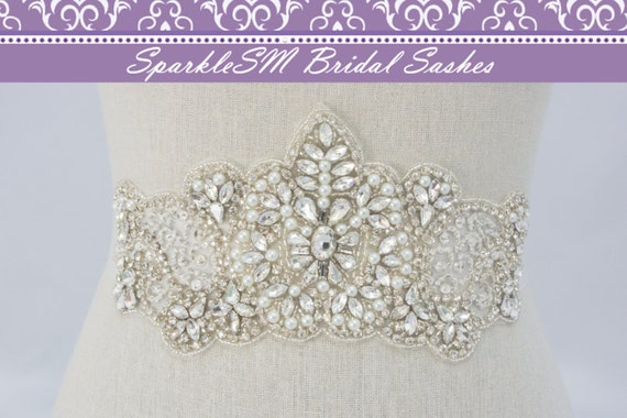 Stunning Crystal Bridal Sash Rhinestone Bridal Beaded Rhinestone Sash Wedding Sash Couture Bridal Sash, SparkleSM Bridal Sashes, Olivia