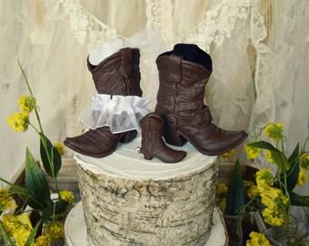 Family wedding western cake topper cowboy cowgirl boots western wedding western bride groom's cake western cake topper
