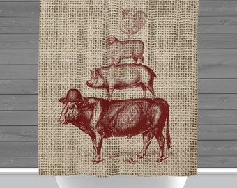 Farmhouse Shower Curtain: Rustic Farm Animals Red Americana | 12 Eyelet/Button Hole | Size and Pricing via Dropdown