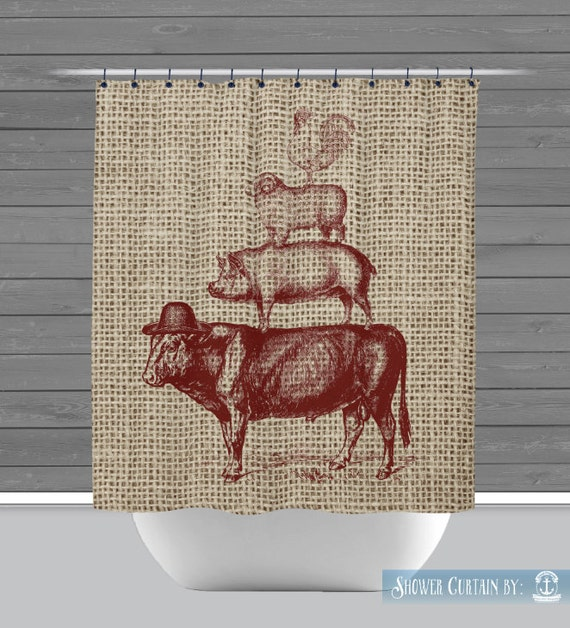 farmhouse shower curtain rustic farm animals red americana
