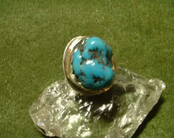 Arizona Turquoise Nugget and Sterling Silver Ring, In-Your-Size with Free USA Shipping, Item 755