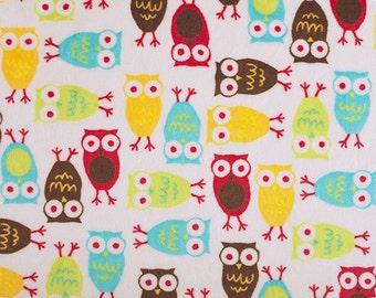 Red & Mango Night Owl Minky From Shannon Fabrics 1 Yard
