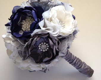 Fabric Bouquet - Large Size - Cream, Navy Blue and Charcoal Grey - Bridal Bouquet, Fabric Flower Bouquet, Herloom Bouquet, Navy Wedding