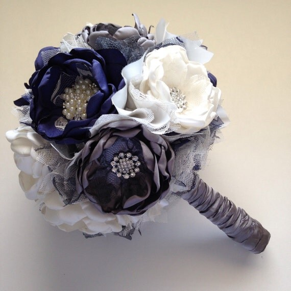navy blue wedding flowers fabric bouquet large size navy blue and charcoal 6124