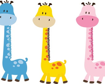 Giraffe Wall Decal - Childrens Wall Decal -  Giraffe Nursery - Boys Decor