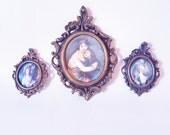 Vintage Trio of Womens Portraits 17 th Century Minature Portraits Vintage Home Decor Historical Potraits Neoclassical Minatures