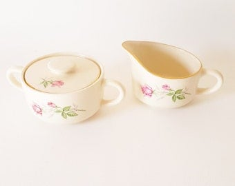 Vintage Cottage Chic Sugar Creamer Set Floral Vintage China Vintage Serving Pieces Pink Roses Gift Under 25 farmhouse china decor