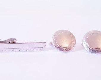Vintage Silver Tie Clip Chevron Pattern Cuff Links Matching Tie Silver Round Cuff Link Tie Bar Set  Wedding ,Groomsmen,Dress Attire