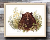 Grizzly Bear Art Print w/Mat (Log Cabin Decor, Office Wall Art) 11x14 Matted Print Gift Ideas for Dad