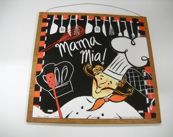 Mama Mia Cooking Chef Bistro Kitchen Wooden Wall Art Sign
