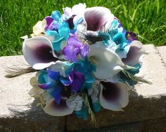 Purple turquoise picasso ivory hydrangea bridesmaids bouquet, toss bouquet, small bridal bouquet